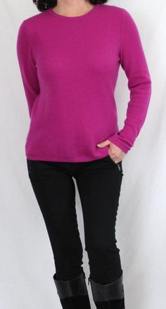 Cashmere Charter Club 100% 2-ply Cashmere Scoop Neck Sweater Magenta Sz M #CharterClub #ScoopNeck