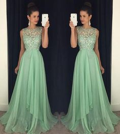 Open back prom dresses, Green prom dress, Chiffon prom dress, Long prom dress, prom dress 2016, online prom dress, Beaded prom dress,15194