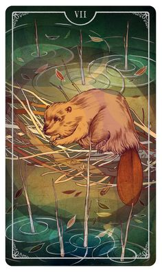 """Seven of Wands Julia Iredale/""""The Ostara Tarot"""" from Vancouver, B.C. 1st Edition by Morgan Applejohn (Author), Eden Cooke (Author), Krista Gibbard (Author), Julia Iredale (Author) 2017: delve into the fantastical world of traditional symbolism & contemporary themes that will return you to the wilderness & explore the feminine;with a unique synergy of artistic styles & perspectives, discover deities & mystical archetypes."""