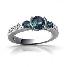 14K White Gold Round Alexandrite Engagement Ring - Unusual Engagement Rings Review