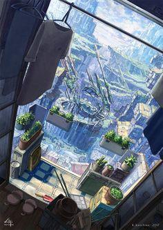 Fantasy Art Landscapes, Fantasy Landscape, Landscape Art, Fantasy City, Fantasy Places, Aesthetic Art, Aesthetic Anime, Anime Places, Anime City