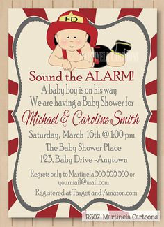 Firefighter baby shower invitation, first birthday invitation, cute firefighter baby boy invite, printable digital file. JPG, PDF