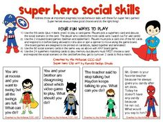Superhero Social Skills // Teach social and behavior skills. Social Skills Activities, Teaching Social Skills, Counseling Activities, Social Emotional Learning, Therapy Activities, Social Skills Lessons, Play Therapy, Therapy Ideas, Classroom Activities