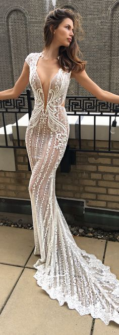 BERTA spring 2018 bridal cap sleeve deep v neck full embellishment beautiful romantic a line wedding dress open back chapel train - BERTA Spring 2018 Wedding Dresses | @bertabridal