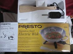 Presto 14 Stainless Steel Electric Wok Complete In Box Works Well Little Use
