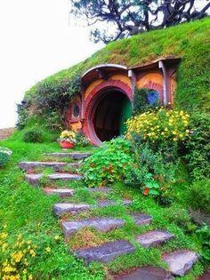 unusu place, dream, house entrance, hobbit houses, garden