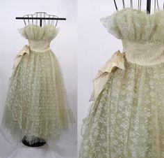 1950er Jahre Prom Dress  Grüne Spitze und von ParkwaterPrincess
