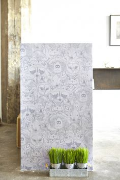 Sarah Watson's Menagerie/Wild print for Chasing Paper: Removable Wallpaper tiles. Add a bit of character to your walls!