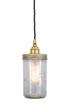 """Vintage chic jam jar pendant lights with some soft and atmospheric lighting.   A great light for residential and commercial projects such as bars and restaurants.  An eye catching design, made from an original """"Le Parfait"""" jar converted into a beautiful pendant light.   #uniquelighting #restaurantlighting #jarlight #hangingbulbjars #pendantlight #suspensionlight #lighting#jamjar #fairylights"""