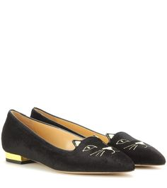 CHARLOTTE OLYMPIA  Mid-Century Kitty Cat Black & Gold Slippers