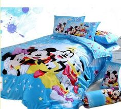 Beautiful Mickey Bedding From #Krtifab   Surprise Your Kid With This Blue Colored Kids  Bed Sheet