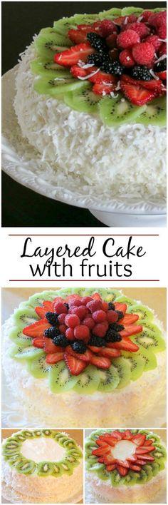 Layered Sponge Cake with Fruits. ValentinasCorner.com