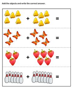 Addition worksheets for preschool and kindergarten, including adding using pictures or objects, single digit addition (horizontal and vertical), addition math facts, . Kindergarten Addition Worksheets, Addition And Subtraction Worksheets, Kindergarten Math Worksheets, Preschool Math, Worksheets For Kids, In Kindergarten, Math Activities, Number Worksheets, Tracing Worksheets