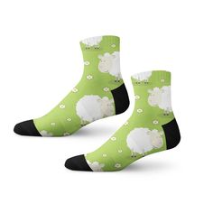 Add bright green color to your attire with animated sheep print socks Funky Socks, Cool Socks, Bright Green, Green Colors, Animal Print Socks, Funny Sheep, Green Socks, Unique Socks, Custom Socks