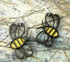 Honey Bees Laser Cut Earrings from Reforested by GreenTreeJewelry, $12.95