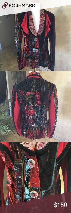 Beautiful black and red multi color velvet blazer Beautiful black and multi colors blazer in soft velvet is a little stretchy for better fitting, collar in velvet and real silk god save the queen Jackets & Coats Blazers