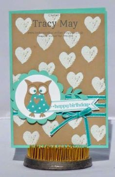 stampin up uk owl builder punch and work of art blue independent demonstrator Tracy May