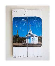 Little White Church in the Desert : Pallet Art hand transferred original photography - Somewhere in Arizona - OOAK