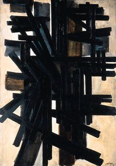 """Pierre Soulages (1919) is a French painter, engraver, & sculptor  known as """"the painter of black"""" because of his interest in the colour, """"...both a colour and a non-colour. When light is reflected on black, it transforms and transmutes it. It opens up a mental field all of its own""""."""