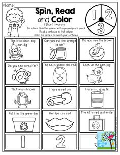 Spin the spinner, READ the sentence and color the picture to match!