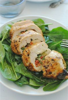 cheesy asparagus and roasted red pepper stuffed chicken via @Beverly Weidner
