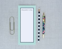 Japanese Ocean Wave Tall Personalized Notepad Unlined | Meredith Collie Paper