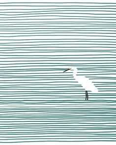 Animals - GRAPHICS  - Snowy egret wading in Crissy Field estuary.