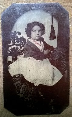 Gorgeous Tinted Tintype Photo China Doll Like Girl Coral Necklace Early | eBay