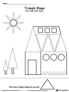 **FREE** Find, Trace, Color and Count the Shapes: Triangle Worksheet. Practice pre-writing, fine motor skills and identifying triangle shapes with this printable tracing shapes worksheet. Your child will need to find the triangle shapes in the picture, trace and count them.