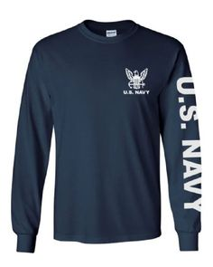 air force wings logo navy military long sleeve graphic t-shirt shirt M L XL XXL Navy Ranks, Navy Military, Blue Long Sleeve Shirt, Sweatshirts Online, Branded T Shirts, Air Force, Shirt Designs, Navy Blue, Things To Sell
