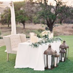 Sweetheart table at the Inn I love the idea of having an outdoor wedding with lots of mismatched, vintage-looking furniture. This sweetheart table with a little couch is so cute! Wedding Reception Seating, Wedding Ceremony, Our Wedding, Dream Wedding, Reception Ideas, Civil Ceremony, Gothic Wedding, Wedding Couples, Wedding Bride