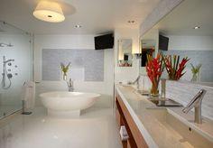 Grande et spacieuse salle de bains avec tous les conforts  - baignoire, douche italienne, télé
