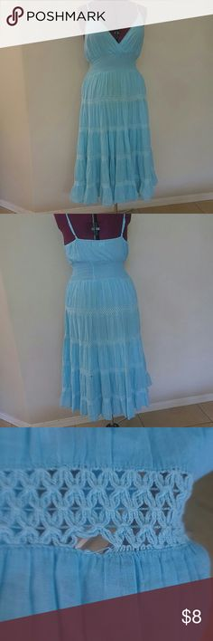 Indian Tropical Fashion Light blue 5 tiered dress Light blue triangle top 5 tiered dress. Small hole(as shown) in back bottom tier. Please feel free to offer, share, or bundle. indian tropical fashion  Dresses Maxi