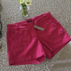 "JCREW 4"" inch Seersucker shorts Navy/Red super cute, never worn- new w. tags J. Crew Shorts"