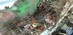 Panoramica dei disastri della, esplosione dei reattori a Fukushima.