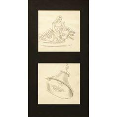 Anita Malfatti (1889-1964) - Harmonia e Pelo telefone 22 - Dois desenhos - Nanquim sobre cartão - 15,5 x 16,1 cm - Assinado com as iniciais ACM embaixo à direita de cada desenho