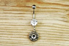 40 Caliber Winchester Nickel Bullet Dangle Belly Button Ring I WANT