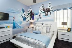 "In 1076 Castle Pines, kids can join Elsa, Anna, Kristoff, Sven and Olaf for an adventure to bring back summer in this ""Frozen"" themed queen bedroom."