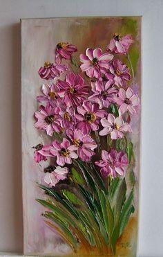 Pink Daisies Impressionism IMPASTO Original Oil Painting Flowers Europe Artist #Impressionism