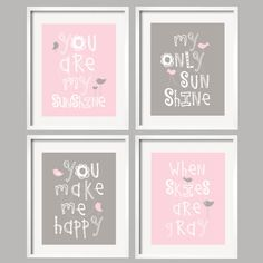 Pink Navy and Gray Nursery Decor Prints  You Are My by YassisPlace, $59.95