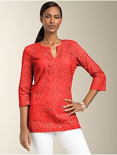 I like this eyelet tunic for summer, though I cannot decide between this pretty coral color or aquamarine.