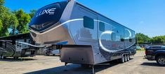 This Elite New Moon Paint Scheme is a sharp head turning beauty. Build your own Luxe Fifth Wheel today! Fifth Wheel Toy Haulers, Moon Painting, Vintage Travel Trailers, Paint Schemes, Building, Turning, Beauty, Vintage Caravans, Paint Color Schemes