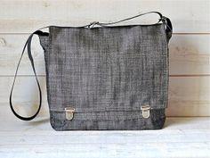 Waterproof  Messenger bag in  black ecru linen