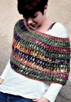 Chunky Crochet Capelet  Crochet Poncho  by RubyLovesFlamingos,