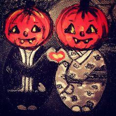 Mei+Kenji at Halloween with pumpkin heads Artprint Pumpkin Head, Spiderman, Romantic, Culture, Superhero, Art Prints, Spooky Halloween, Festivals, Fictional Characters