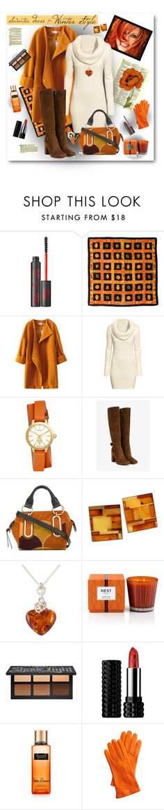 """If I had a Sweater Dress..."" by pomy22 ❤ liked on Polyvore featuring Kat Von D, Fendi, H&M, Tory Burch, Gianvito Rossi, See by Chloé, Be-Jewelled, Nest Fragrances, Mark & Graham and Boots"
