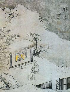 (Korea) 程門立雪 by Gyeomjae Jeong Seon (1676- 1759). ca 18th century CE. ink on paper. National Museum of Korea. 정문입설.