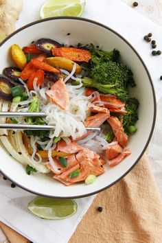 Asian Noodle Bowls with Green-Tea Poached Salmon.