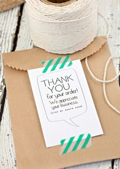 Customized Thank You Cards, Thanks for your order, Business Cards, Shop Cards