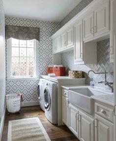 Papel pintado en cuarto de lavado